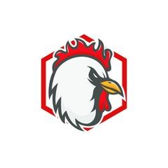 Chicken mascot vector logo emblem rooster head animal illustration