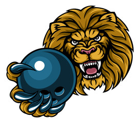 Lion Bowling Ball Sports Mascot