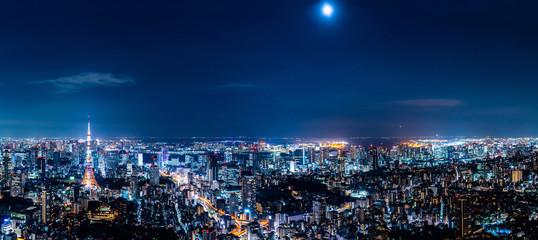 Deurstickers Stad gebouw 東京の夜景