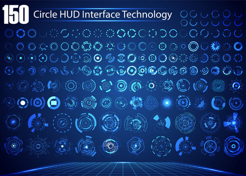 Set of Circle Abstract Digital Technology UI Futuristic HUD Virtual Interface Elements Sci- Fi Modern User For Theme Technology, Game Control,  Elements of Background Hi-tech or Design