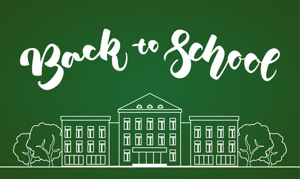 Flat line white school building with trees and hand lettering Back to school on green blackboard background