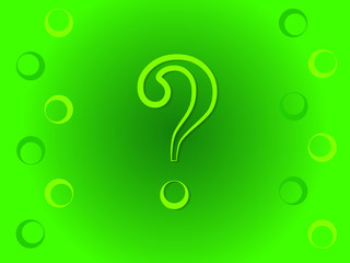 A green question mark sign for query on green background vector illustration