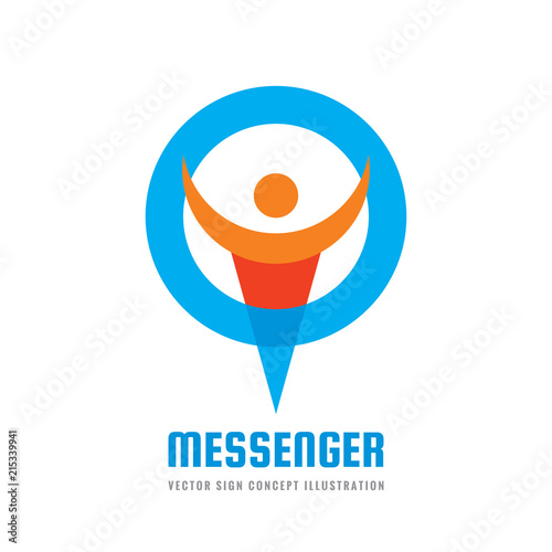 Messenger - vector logo template concept illustration