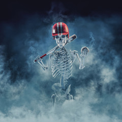 The phantom baseball player / 3D illustration of scary skeleton with baseball bat, helmet and ball emerging through smoke