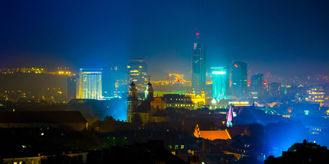 Panorama of the business centre of Vilnius city. Lithuania.