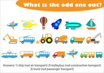 What is the odd one out for children, transport in cartoon style, fun education game for kids, preschool worksheet activity, task for the development of logical thinking, vector illustration