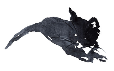Hand drawn watercolor silhouette of a black pretty kitten.