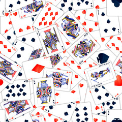Lot of realistic playing cards, seamless pattern