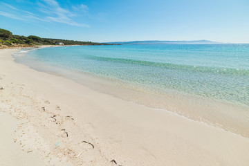 Turquoise water and white sand in Le Bombarde beach in Alghero
