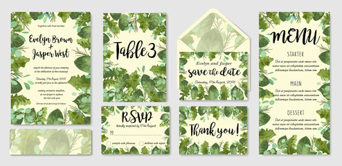 Garden foliage watercolor wedding invitation set, envelope, table number, menu. Leaves of roses, gerberas and eucalyptus, wax flowers