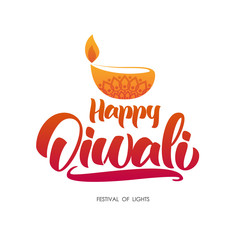 Happy Diwali. Greeting type with oil lamp. Handwritten lettering for festival of light.