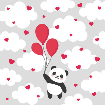Panda vector print, baby shower card. hello panda with balloon cartoon illustration,  greeting card, kids cards for birthday poster or banner, cartoon invitation