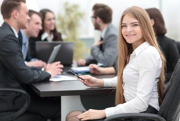 young business woman in office