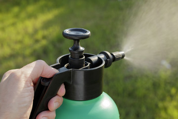 Spraying Pesticide from a Plastic Garden Aerosol Can