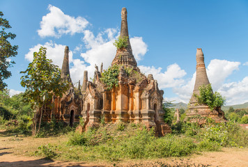 Nyaung Ohak pagodas the group of ancient pagodas in Indein village West of Inle Lake, Myanmar.