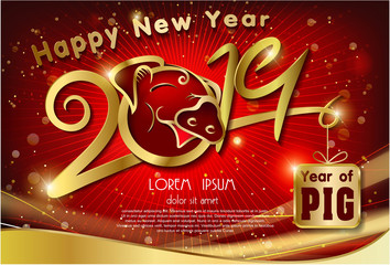 golden 2019 text design of pig year on red light background