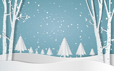 Merry christmas,Snow forest. pines in winter and mountain Paper vector Illustration