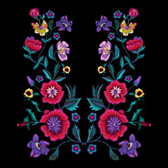 Embroidery pattern with poppies and meadow flowers. Vector embroidered floral patch for clothing design.