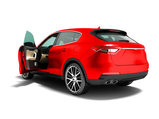 Modern car crossover open for business trips back view 3d render on white background with shadow