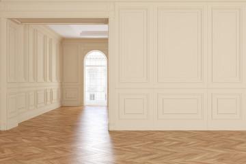 Classic empty beige room interior with parquet floor.