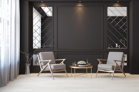 Classic black modern interior empty room with lounge armchairs, table and mirrors.