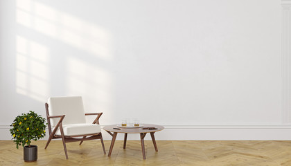 Classic scandinavian empty room interior with lounge armchair, coffee table and plant.