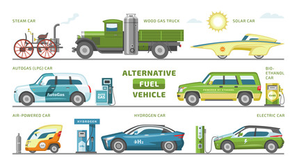 Fuel alternative vehicle vector team-car or gas-truck and solar-car or autogas- vehicle illustration set of bio-ethanol and hydrogen or electric-car isolated on white background