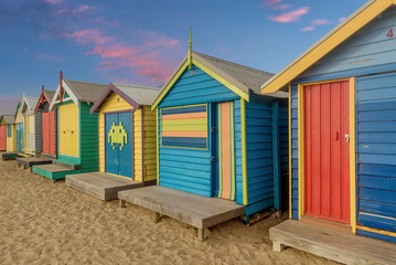 Printed kitchen splashbacks Australia Colourful bathing boxes at Brighton beach in Melbourne, Australia