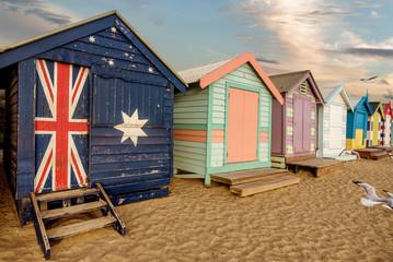 Colourful bathing boxes at Brighton beach in Melbourne, Australia