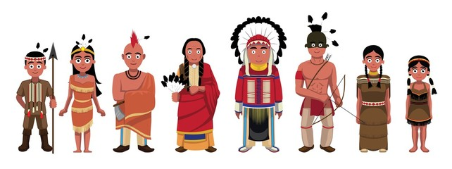 Native American Indians Family Characters Set Cartoon Vector Illustration