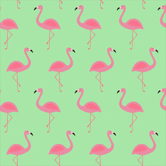 pink flamingo tropical exotic bird summer seamless pattern on a green background vector