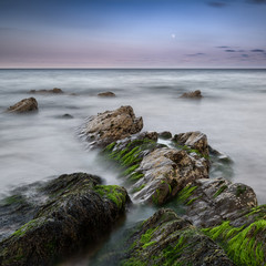 Green algae covered rocks at Rocky Bay beach in Ireland