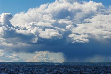 Rain cloud over landscape