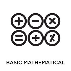 Basic mathematical symbols icon vector sign and symbol isolated on white background, Basic mathematical symbols logo concept