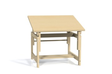 Children's small wooden table on a white background. Isolate. Render 3d mode kid desk.