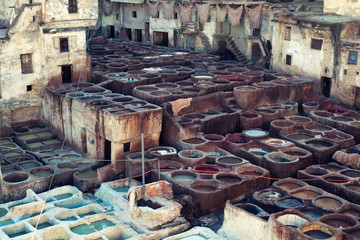 Fes leather tanneries, Morocco
