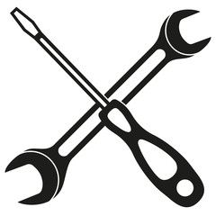 Black and white screwdriver wrench cross silhouette
