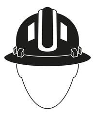 Black white construction worker avatar silhouette