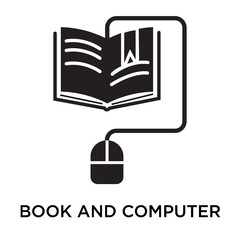 Book and computer mouse icon vector sign and symbol isolated on white background, Book and computer mouse logo concept