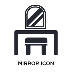 Mirror icon vector sign and symbol isolated on white background, Mirror logo concept