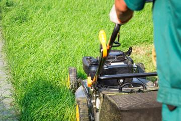 Lawn mower. Cutting, gardener.