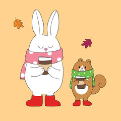 Cartoon cute Autumn rabbit and squirrel drinking coffee vector.