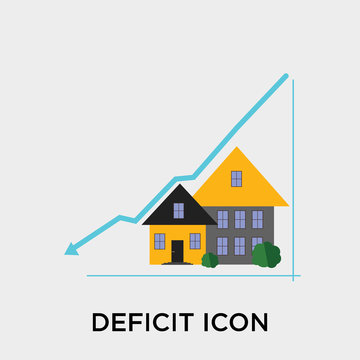 Deficit icon vector sign and symbol isolated on white background, Deficit logo concept