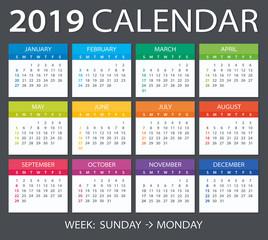 2019 Calendar - vector illustration