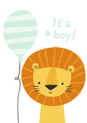 Cartoon lion with a balloon. It's a boy. Cute lion character for boy baby shower invitation, greeting card, birthday party, nursery art poster.