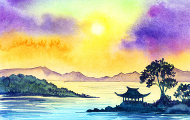 Watercolor landscape with the sea, the sunset, the Chinese house and the distant mountains. Watercolor illustration of a hand drawn on paper.