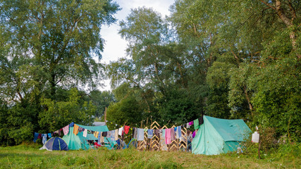 A camp in the woods, outdoor recreation, a tent town