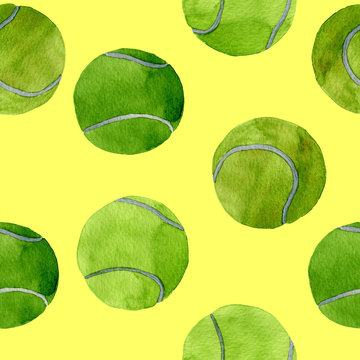 Hand drawn watercolor seamless pattern of colorful tennis balls isolated on color background.