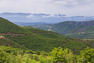 Scenic landscape view in Albanian mountain in summer day.