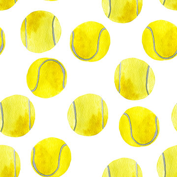 Hand drawn watercolor seamless pattern of colorful tennis balls isolated on white background.